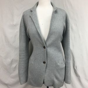 J Crew Heather Gray Cotton Sweater Blazer Sz L